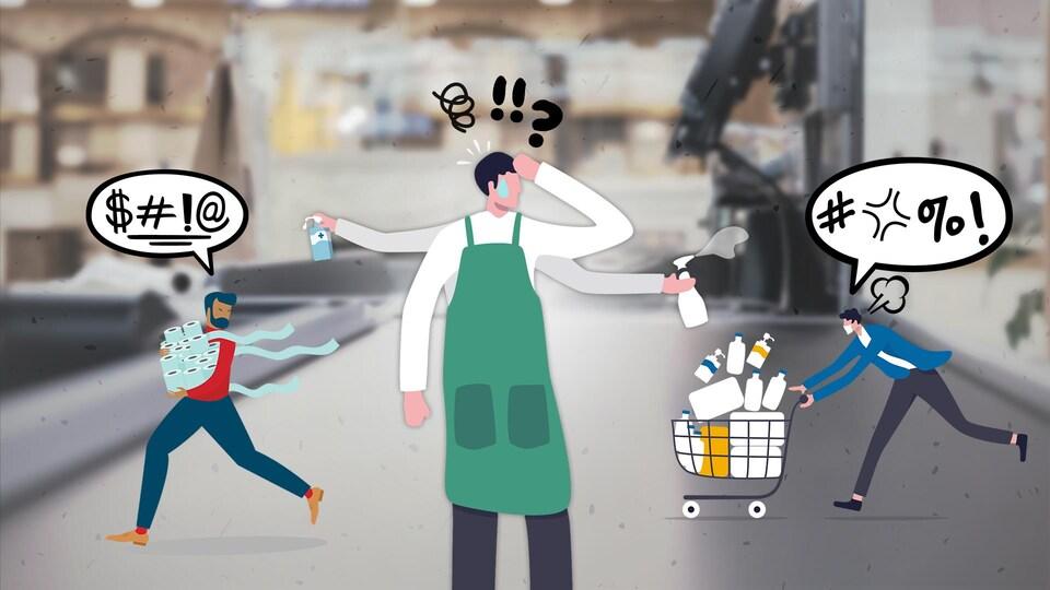 Illustration d'un employé dépassé par l'attitude des clients.