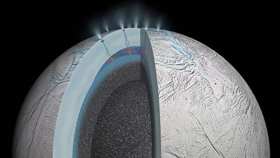 Illustration d'Encelade, la lune de Saturne.