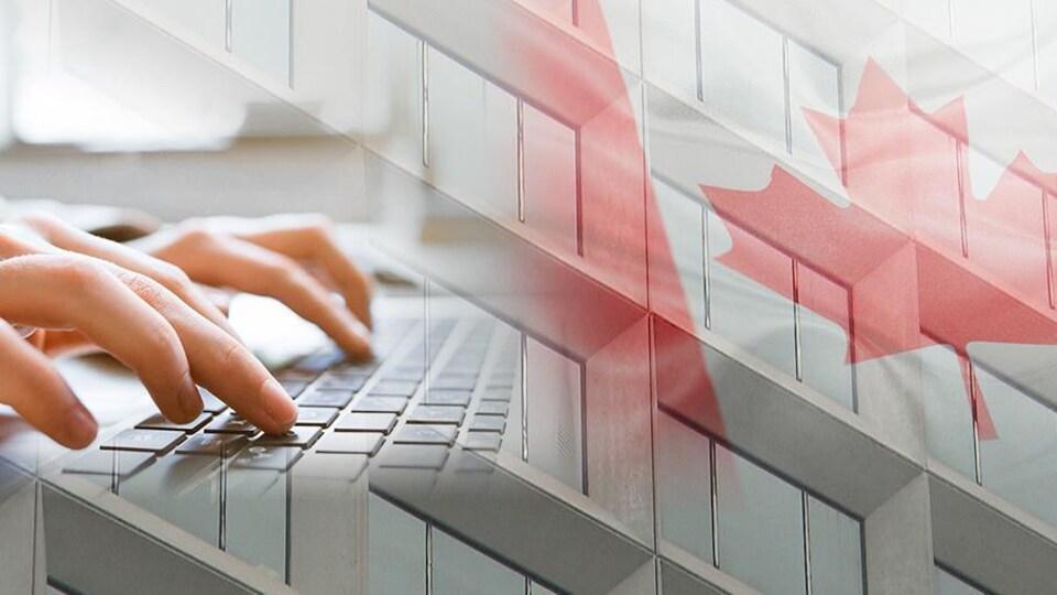 Un immeuble à bureaux avec un drapeau canadien et un ordinateur sur lequel une personne travaille.