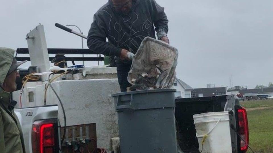 Un homme met à l'aide d'un filet plusieurs truites dans un grand récipient.