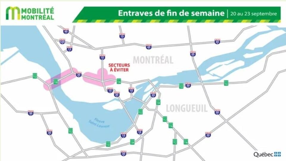 Une carte de Montréal qui présente les secteurs à éviter.