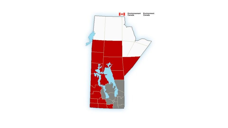Carte du Manitoba avec les zones d'alertes en rouge.