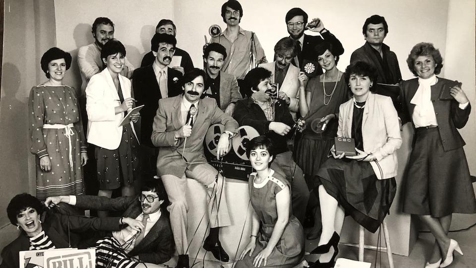 Un groupe d'employés de Radio-Canada à Sudbury au début des années 1980.
