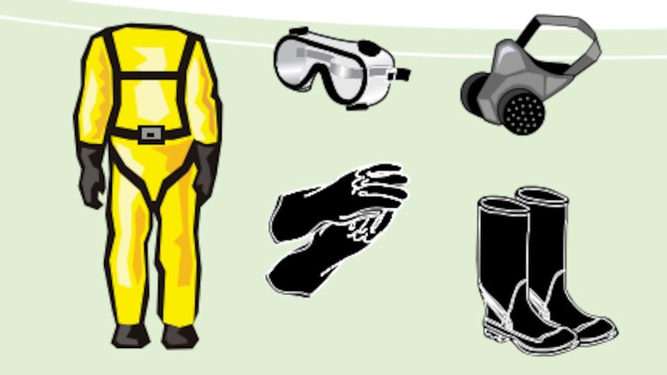 Un dessin montre un habit de protection, un masque, des gants et des bottes.