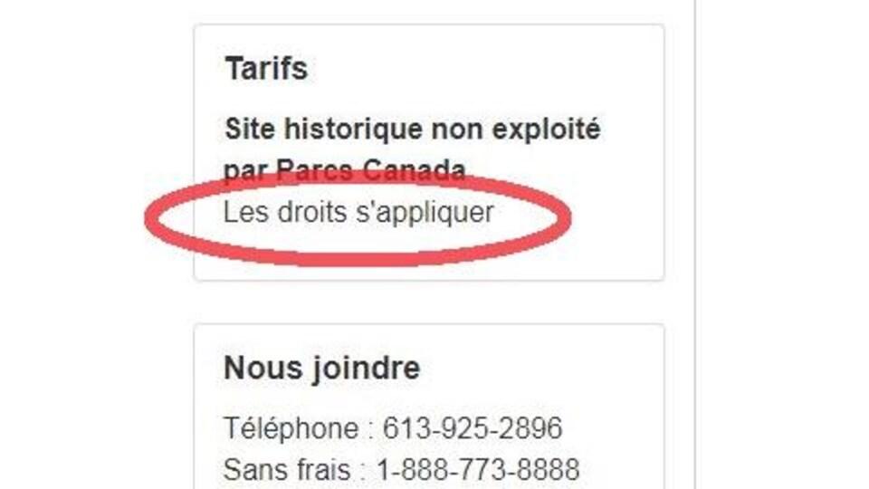 Une capture d'écran du site web de Parcs Canada révèle des erreurs de français, notamment dans la section sur les tarifs.