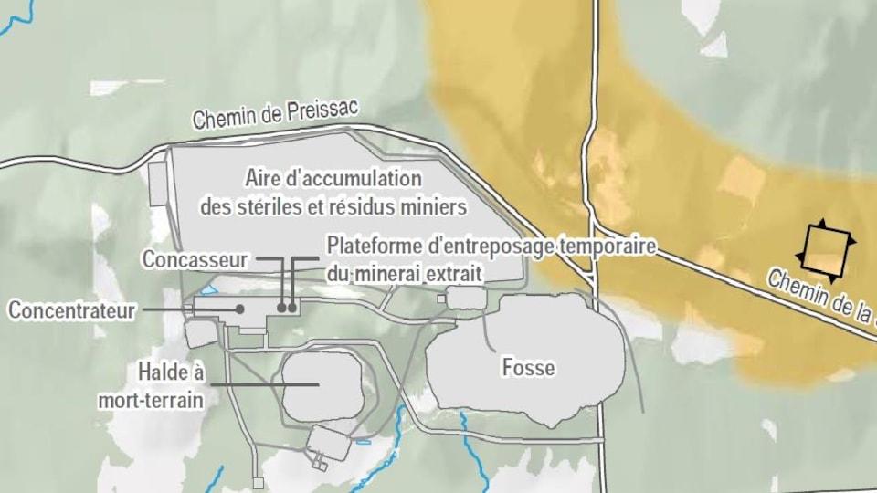 Carte du projet. En orange apparaît l'esker, la formation géologique qui filtre l'eau naturellement.