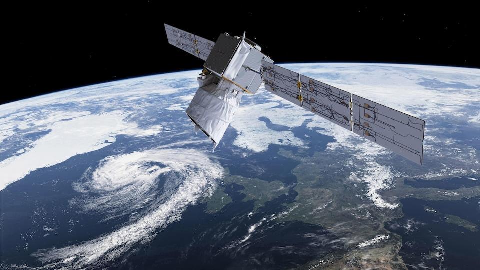 Une représentation artistique d'un satellite en orbite de la Terre.