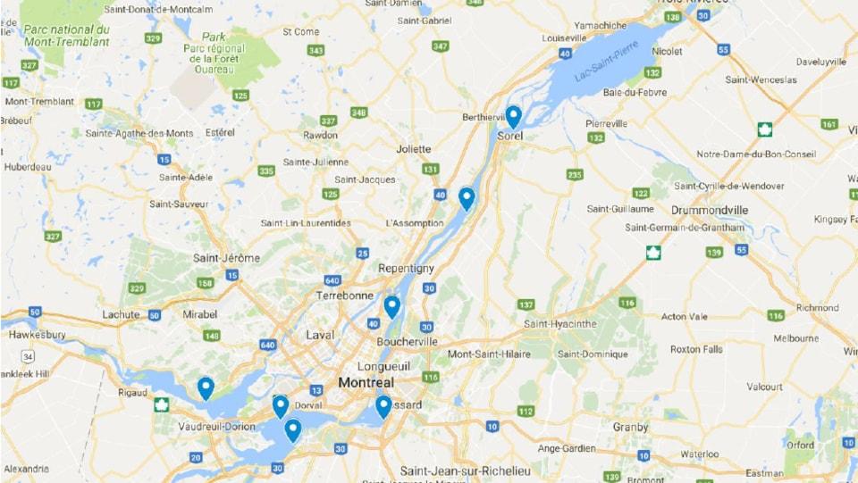Carte des sites de recherche