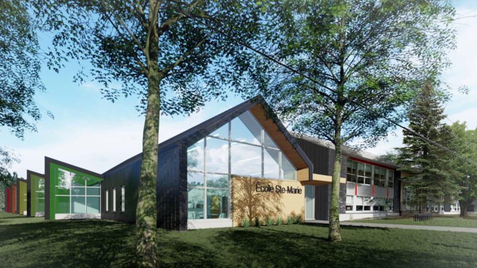 Un plan d'architecte montre le plan d'agrandissement de l'école Ste-Marie.