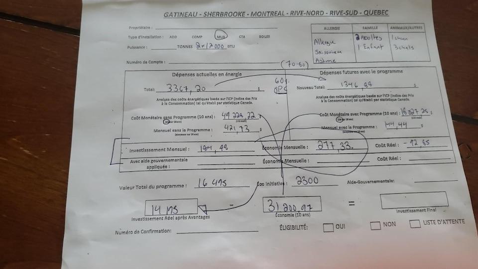 Estimation du montant du système de chauffage et des économies générées.