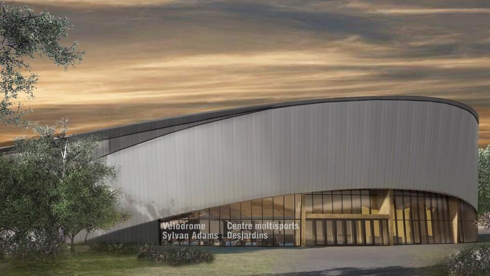Dessin de l'architecture du futur vélodrome intérieur Sylvan-Adams.
