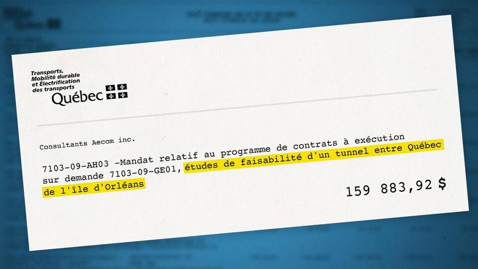 Extrait d'un document publié par le ministère des Transports du Québec, où il est inscrit : « Mandat relatif au programme de contrats à exécution sur demande 7103-GE01, études de faisabilité d'un tunnel entre Québec de l'île d'Orléans » au montant de 159 883 dollars