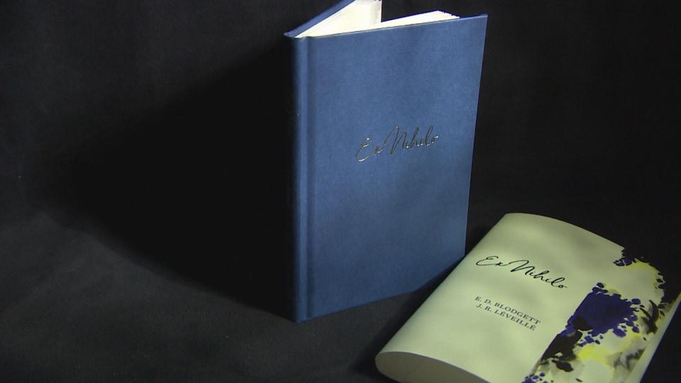 Un livre bleu, debout, avec sa jaquette devant.