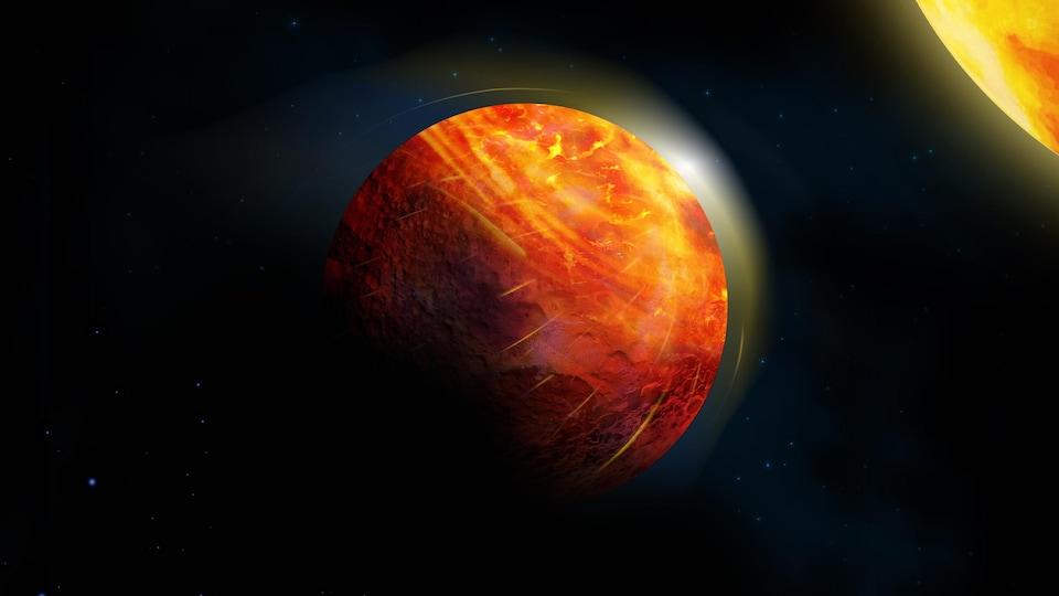 Représentation artistique de la planète de lave K2-141b.