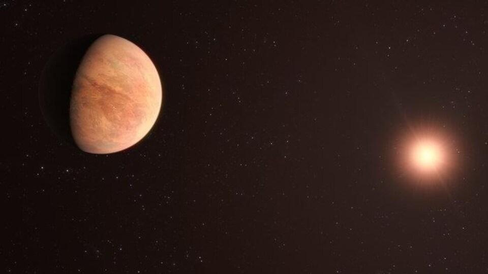 Illustration artistique de L 98-59b, la planète la plus proche de l'étoile L 98-59.