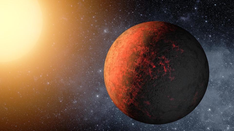 Représentation d'artiste d'une planète noire et rouge, légèrement incandescente, et de son étoile jaune en arrière plan.