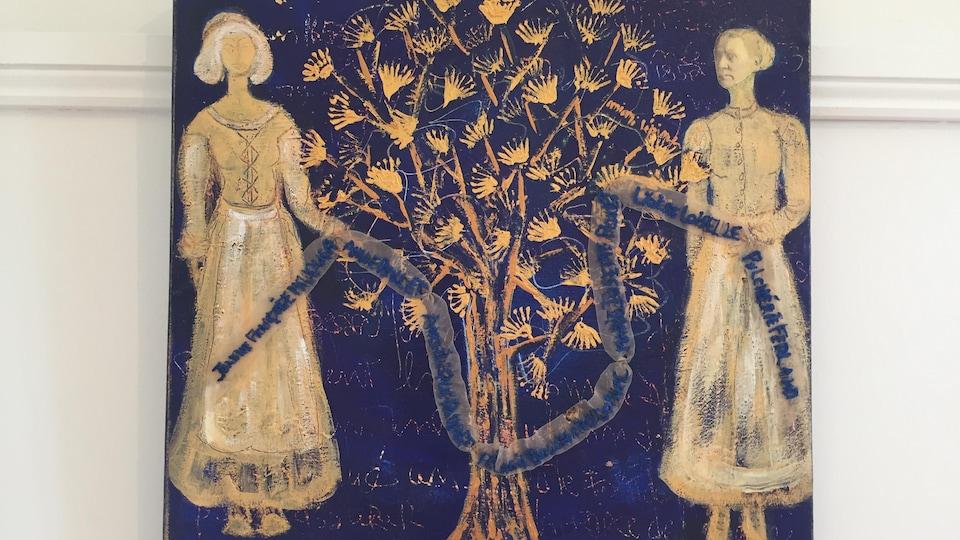 Deux femmes autour d'un arbre.