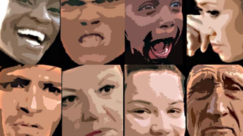 Les expressions faciales de huit visages humains.