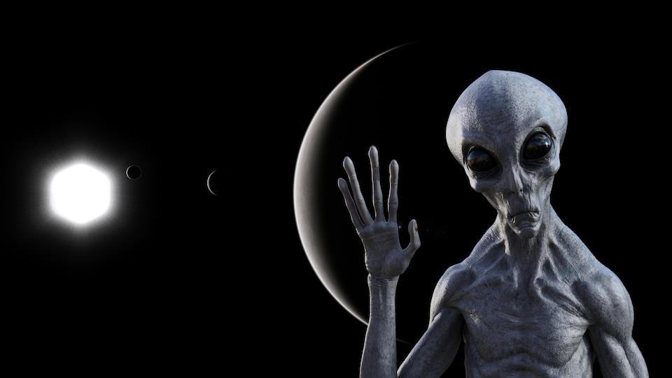 Impression artistique de ce à quoi pourrait ressembler à un extraterrestre.