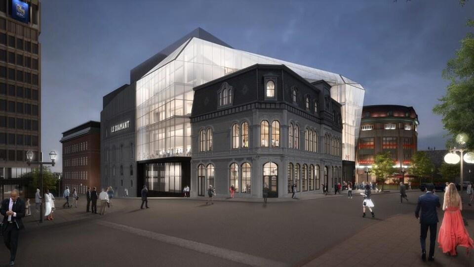 Dessin de la façade du théâtre Le Diamant le soir