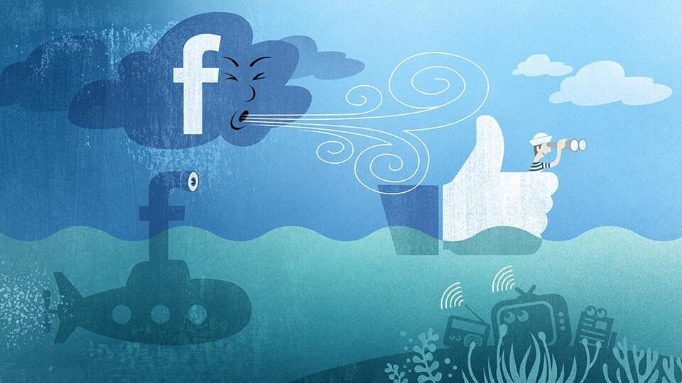 Illustration d'un nuage Facebook qui pousse un homme dans un bateau. Les médias traditionnels flottent au fond de l'eau.