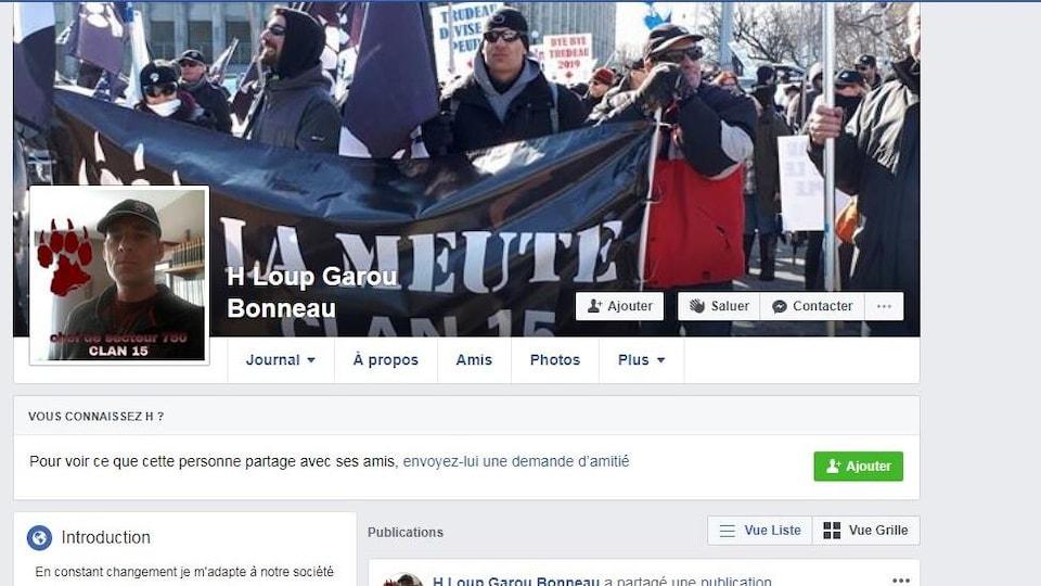 Une capture d'écran montre le profil Facebook de «H Loup Garou Bonneau». Des publications sont publiques sur ce compte, dont une faisant la promotion de la page de l'Association conservatrice de Rivière-du-Nord.