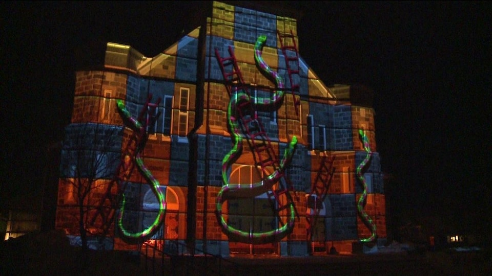 La façade de l'église Saint-Jérome transformée grâce l'animation 3D.