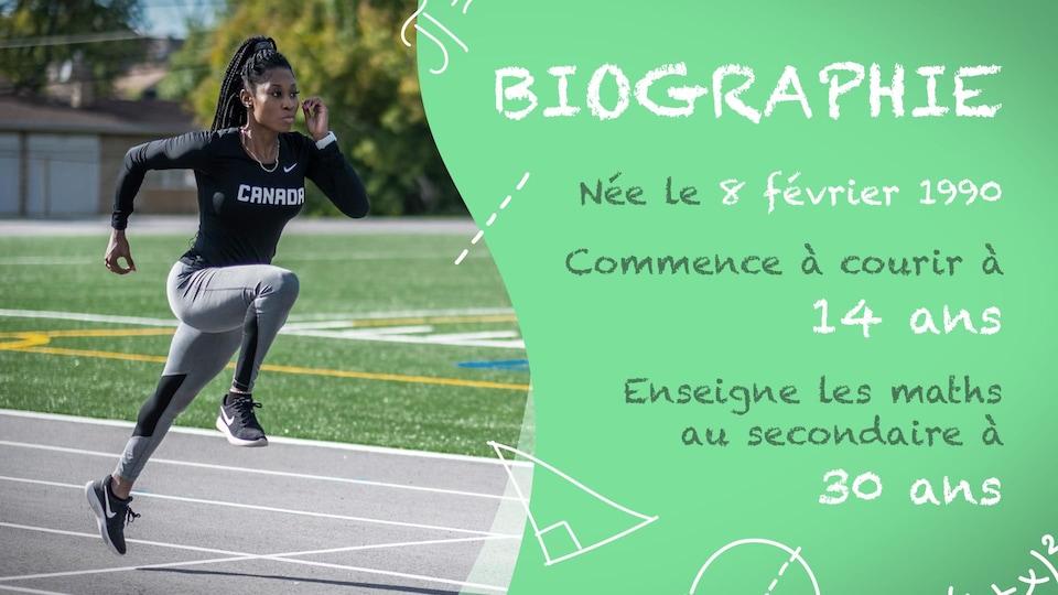 Farah Jacques est née le 8 février 1990. Elle commence à courir à 14 ans. Elle enseigne les maths au secondaire à 30 ans.