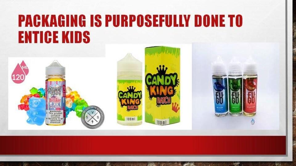 Un extrait de la présentation de Riley Farrel montrant des emballages de liquidse de vapotage au goût de bonbons.