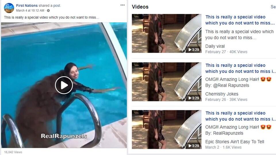 Nous voyons la même vidéo partagée par plusieurs pages.