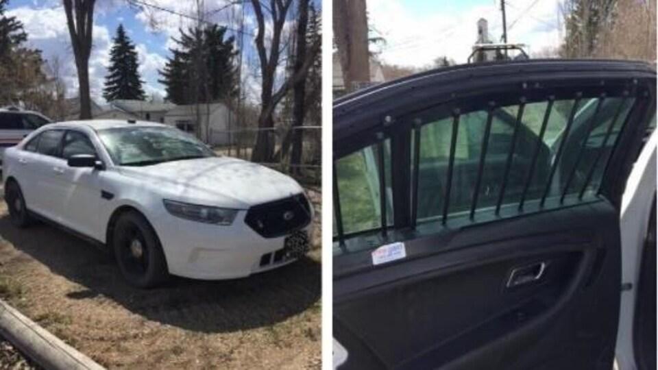 Une voiture blanche ressemblant à une voiture de police.