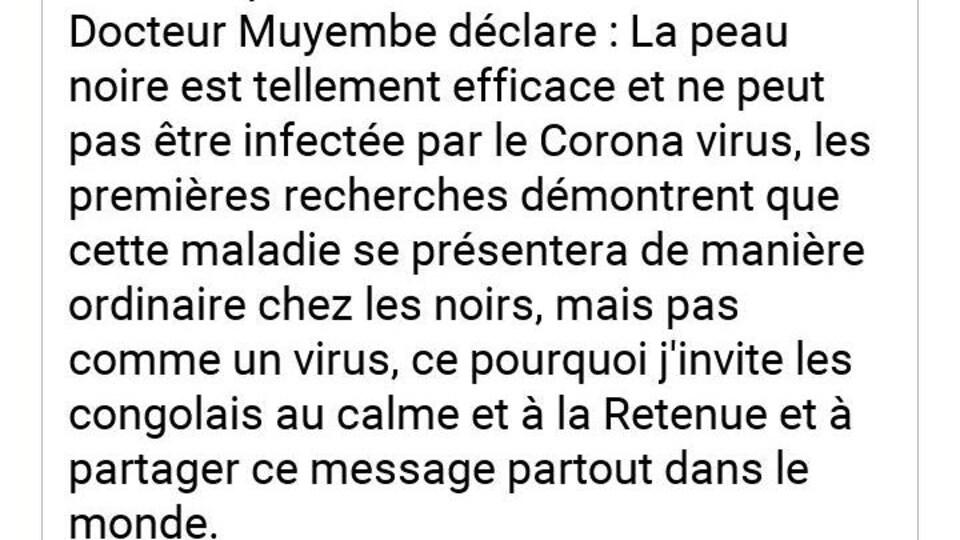 Capture d'écran d'un message publié sur Whatsapp qui affirme que les Noirs ne peuvent pas être gravement touchés par le coronavirus en raison de leur peau.