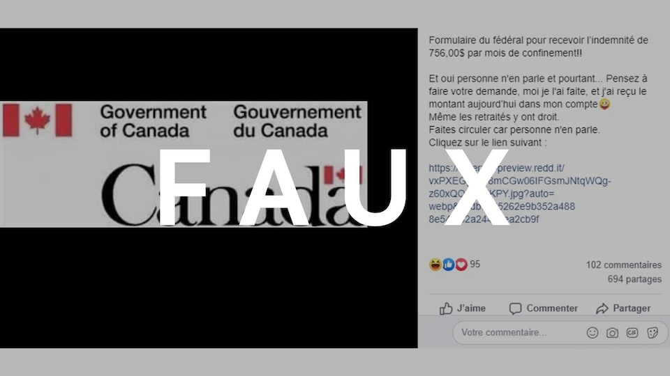 Capture d'écran d'une publication Facebook disant qu'on peut cliquer sur un lien pour recevoir une indemnité de confinement de 756$. Le mot FAUX est superposé sur l'image.