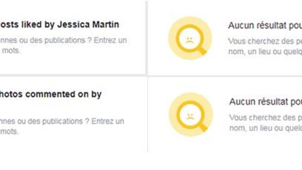 On voit quatre recherches qui n'ont obtenu aucun résultat pour Jessica Martin: les publications qu'elle a aimées, les photos qu'elle a aimées, les commentaires qu'elle a laissés sous des photos et les publications à son propos.