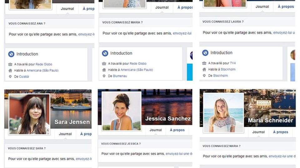 On voit les profils de fausses journalistes, dont Ana Oliveira, Maria Oliveira, Laura Hansen, Sara Jensen, Jessica Sanchez et Maria Schneider, ainsi que les médias pour lesquels elles affirment travailler.