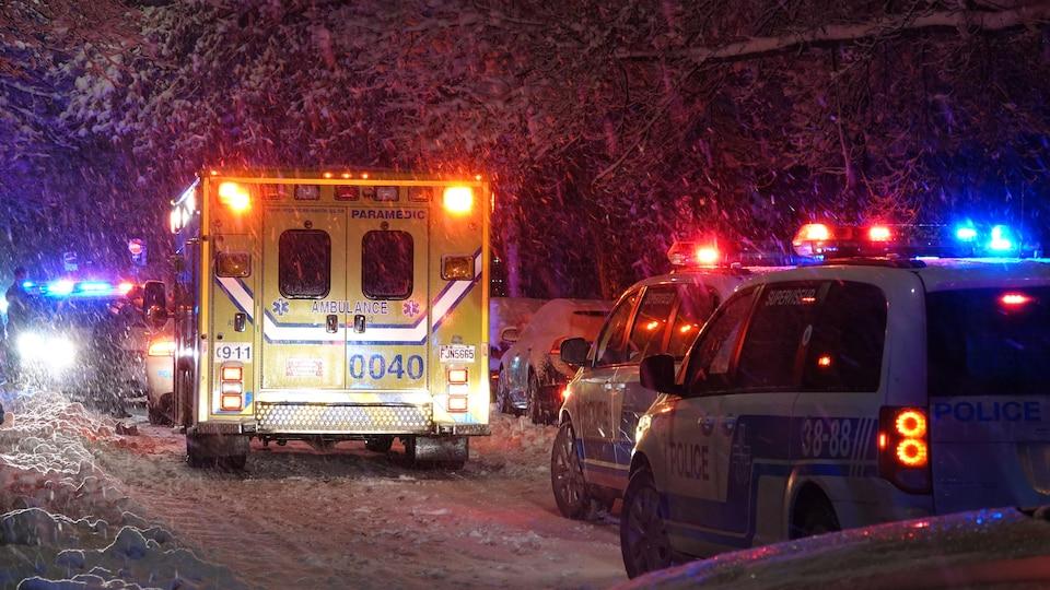Une ambulance et des voitures de police dans une rue enneigée.