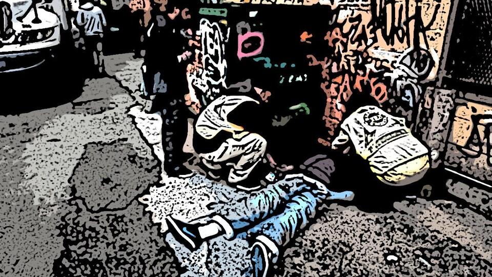 Un homme par terre, inconscient, et des membres de services d'urgence tentent de le réanimer. Photo transformée en illustration.