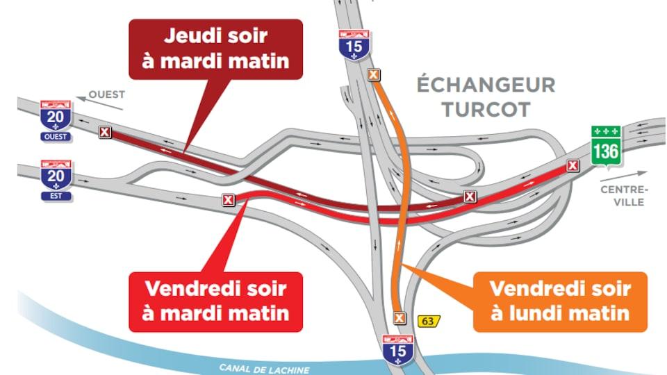 Carte des travaux dans l'échangeur Turcot du 9 au 13 novembre.