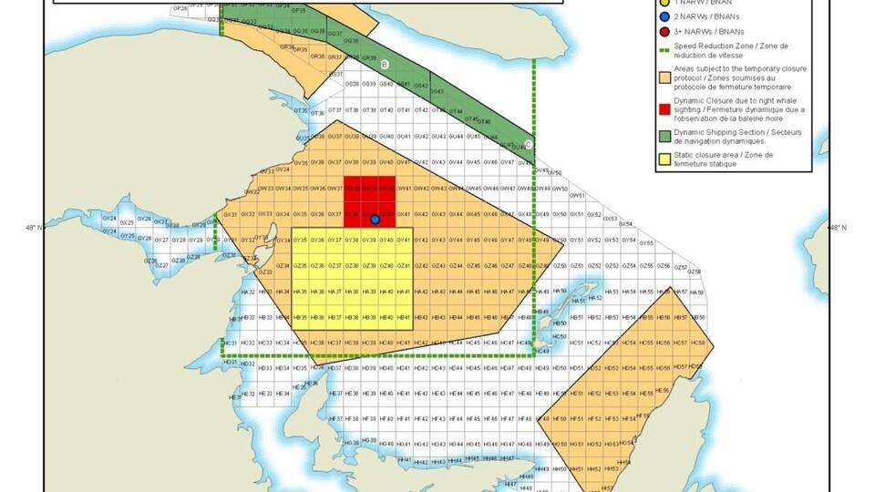 Carte qui montre les zones de pêches fermées.
