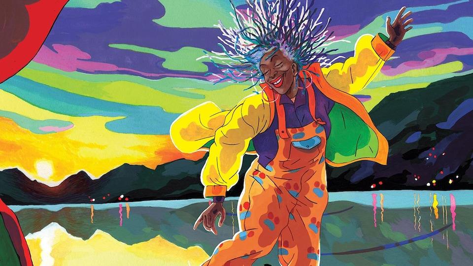 Une personne est dessinée alors qu'elle danse devant un lac d'Annecy coloré.