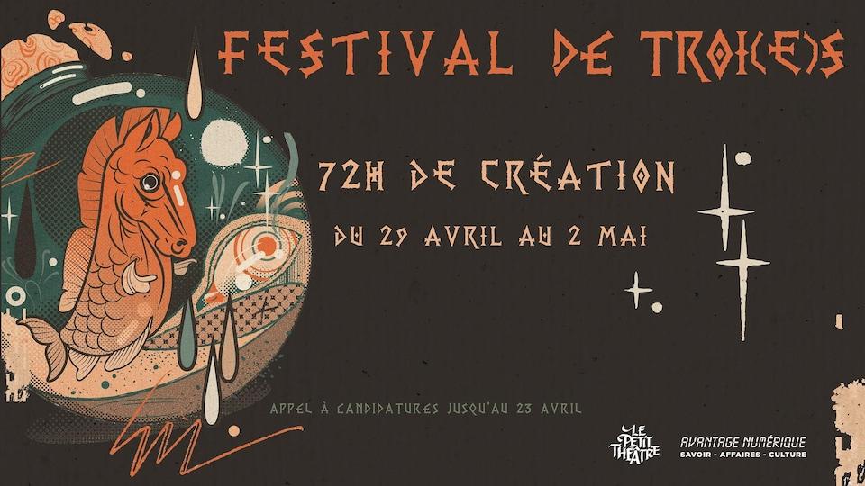 Une infographie d'un événement montre un hippocampe dans une bulle et les informations d'un festival de numérique.