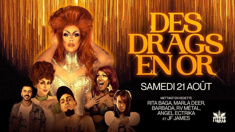 Un montage photo avec infographie pour la soirée Rita Baga et Des drags en or.