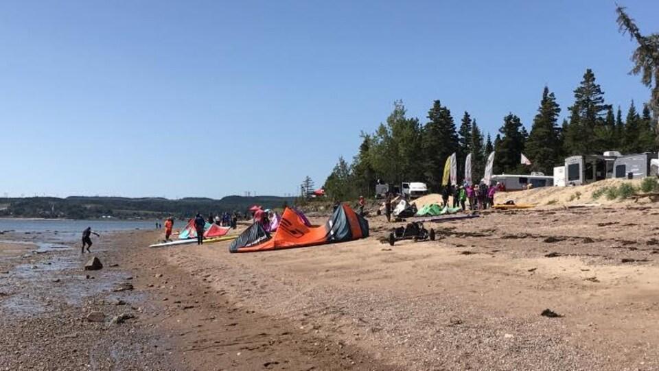 Des personnes et des cerf-volant sur la plage.