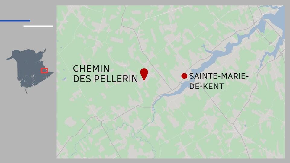Une carte qui montre que l'incendie s'est déclaré entre le chemin des Pellerin et la route 515, dans la région de Sainte-Marie-de-Kent.