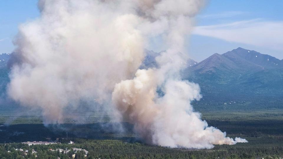 Un paysage de l'Alaska avec un feu qui dégage une épaisse fumée.
