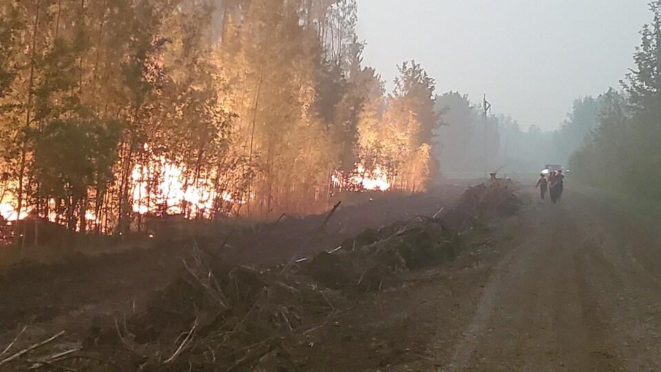 Trois pompiers marchent sur un chemin pendant que des arbres brûlent à leurs côtés dans une forêt albertaine.
