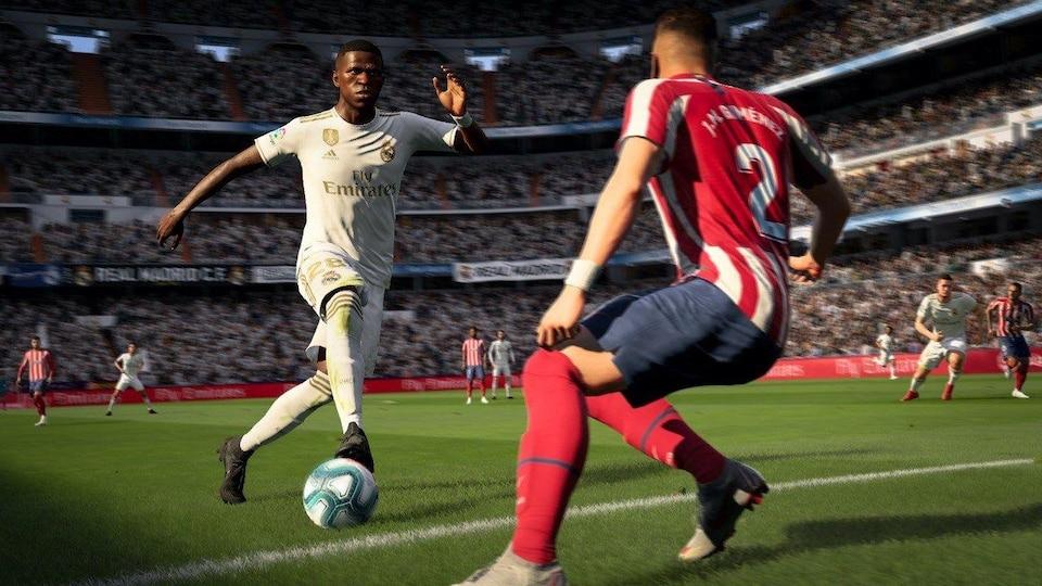 Capture d'écran du jeu vidéo de simulation de soccer FIFA 20.