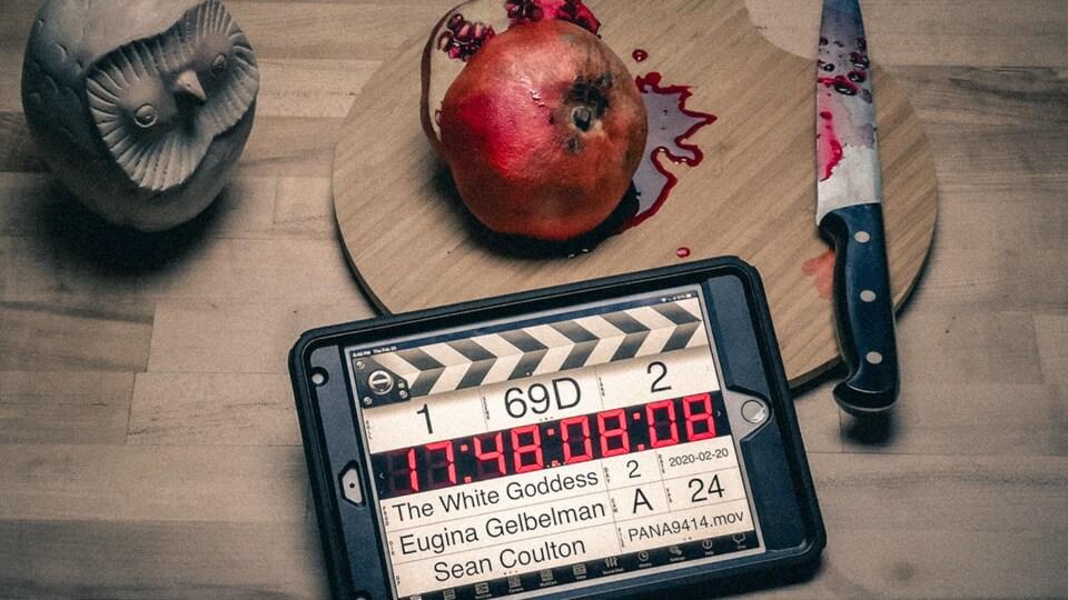 Une tablette avec un couteau et du sang.