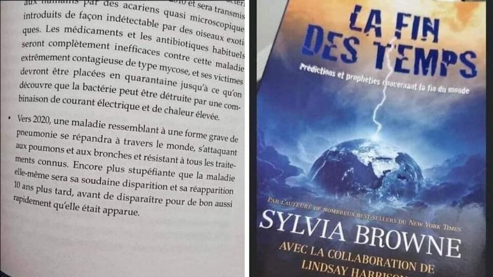 Une page du livre « La fin des temps » de Sylvia Browne et sa page couverture.