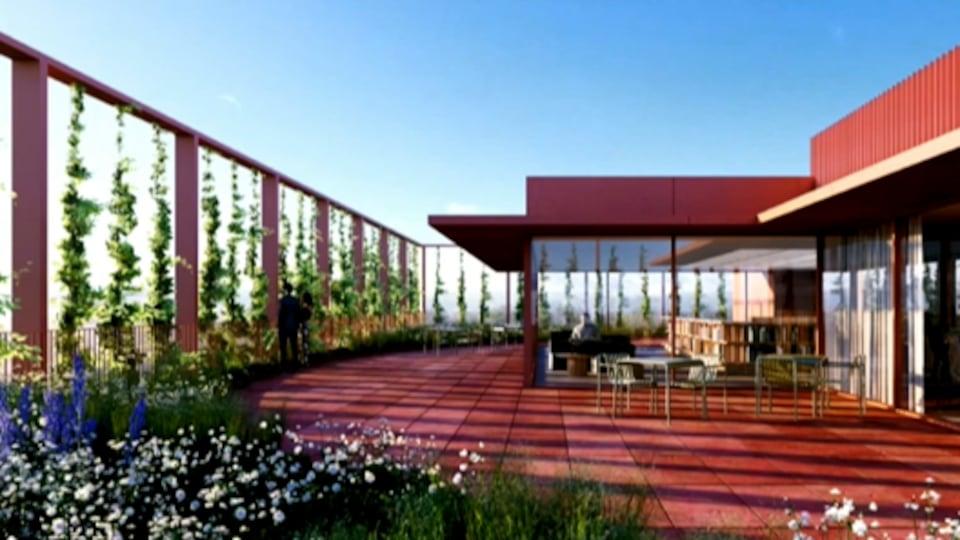 La maquette de la quatrième proposition, la terrasse verte de la bibliothèque.